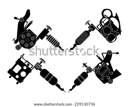 set 4 different style realistic tattoo stock vector 229530736