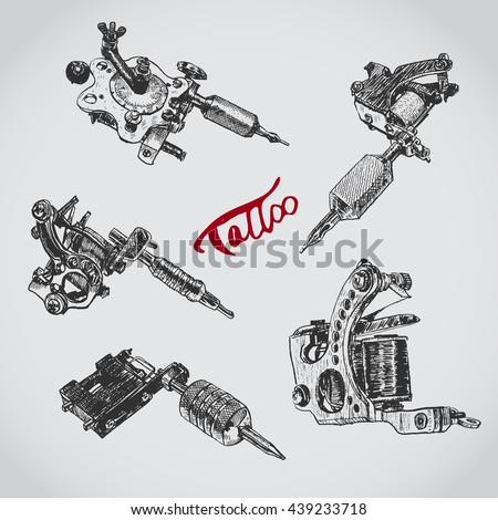 Set of different style realistic tattoo machines. Vintage old school collection.  - stock vector