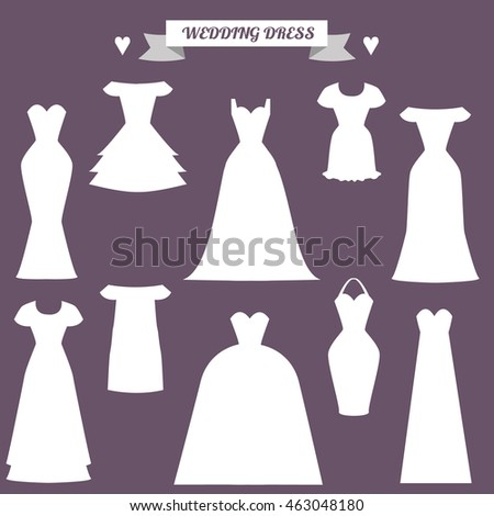 Set Of Different Styles Wedding Dresses. Fashion Bride Dress, Mo