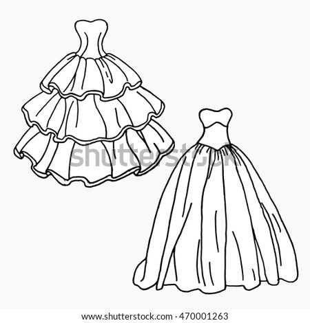 Set of different styles wedding dresses. Fashion bride dress,modern style design. Collection of white dress silhouette. Set of wedding dress styles vector illustration.