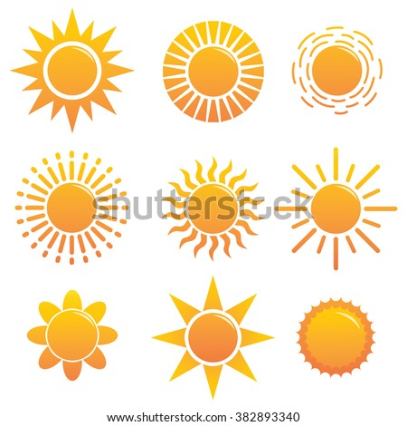 Set of Different Suns Icon With More Unique Style - stock vector