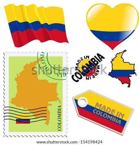 set of different symbols in national colours of Colombia - stock vector