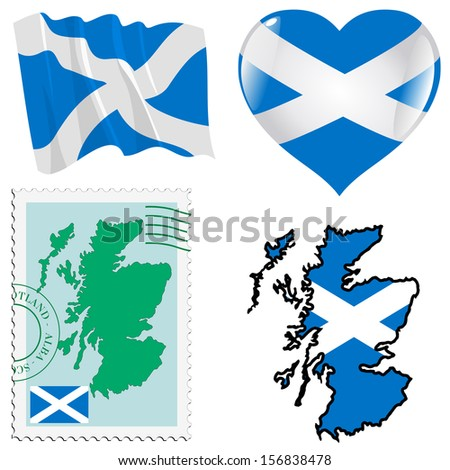 set of different symbols in national colours of Scotland - stock vector