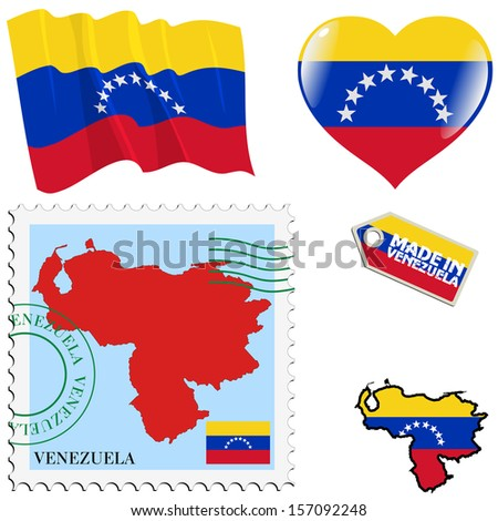 set of different symbols in national colours of Venezuela
