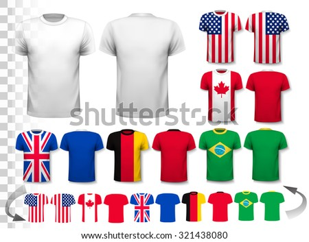 Set of different T-shirts with prints of world flags. Includes a white T-Shirt transparent template for your own design. Vector. - stock vector