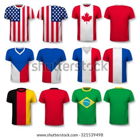 Set of different T-shirts with prints of world flags. Vector. - stock vector