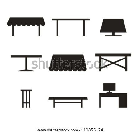 Set of different tables. Black contour silhouettes of furniture - stock vector
