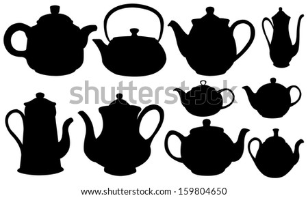 set of different tea pots isolated on white - stock vector