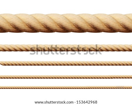 Set of different thickness ropes. Vector illustration - stock vector