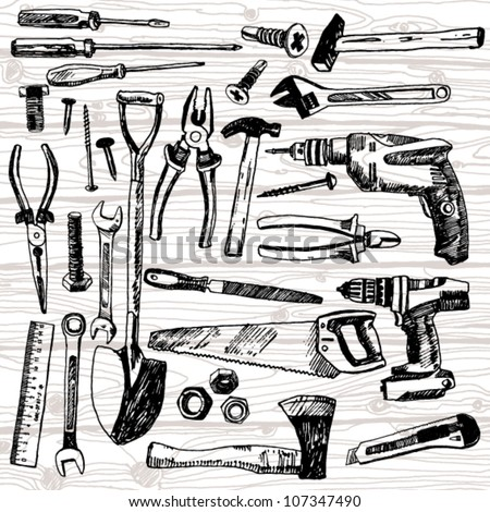 Set of Different Tools Hand Drawn - stock vector