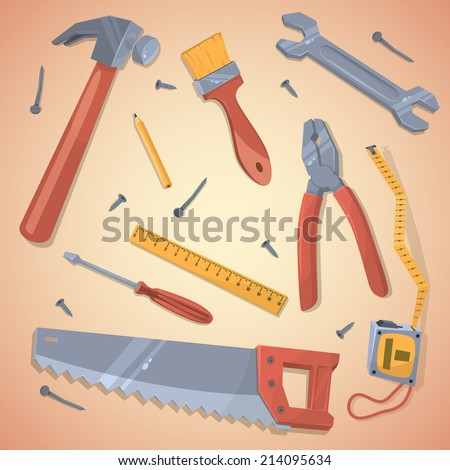 Set of different tools. Vector illustration. - stock vector