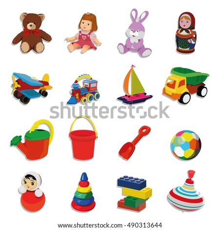 Set of different toys for children