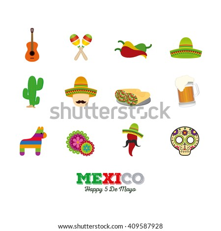 Set of different traditional mexican icons on a white background