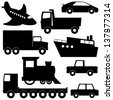 Set 1 of different transport silhouettes isolated on white - stock vector