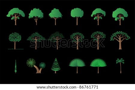 set of different trees, palm, pine..., vector - stock vector