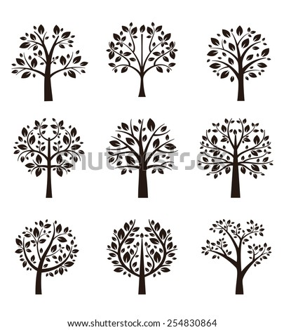 Set of different trees silhouette with roots and branches for logo, label, sign or tattoo. Vector illustration - stock vector