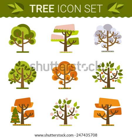 Set of different trees. Sprites for the game. vector flat design forests illustration.Vector file is organized in layers for easy editing.