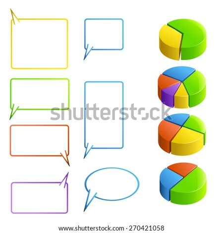 set of different types and colors clear labelsfor round diagram