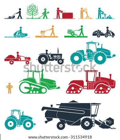 Set of different types of agricultural vehicles and gardening machines. Mower, trimmer, saw, cultivator, tractors, harvesters, combines and excavators. Icon set of working machines. - stock vector
