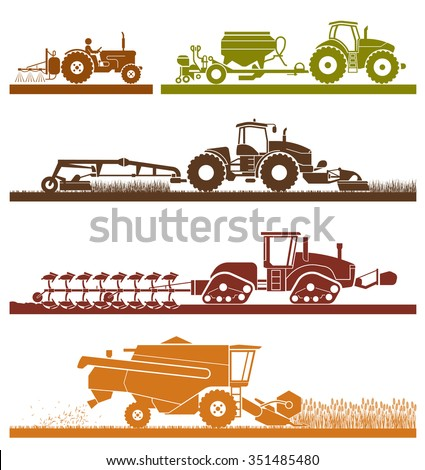 Set of different types of agricultural vehicles and machines harvesters, combines and excavators. Icon set of agricultural machines with accessories for plowing, mowing, planting and harvesting.