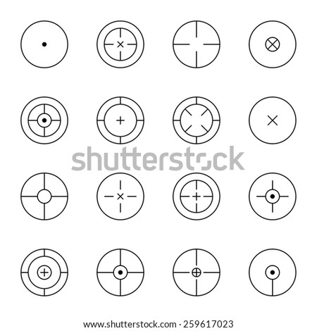 set of different types of crosshair. icon. Game flies for snipers