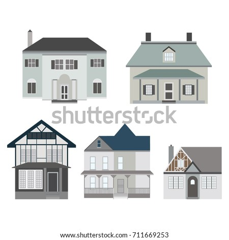 Set Of Different Types Of Houses, Architecture, Detailed, Colorful