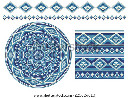 Set of different using same most popular seamless texture. Round pattern, square pattern and borders in blue  colors , isolated on white background. Vector illustration.  - stock vector