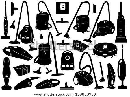 Set of different vacuum cleaners - stock vector