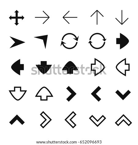 Set of different vector arrows for website and user interfaces