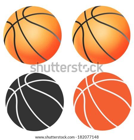 Set of different vector basketballs - stock vector