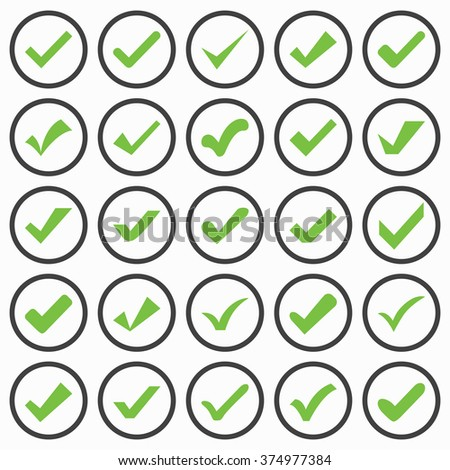 Set of different vector check marks or ticks. Confirmation acceptance positive passed voting agreement true or completion of tasks on a list. - stock vector