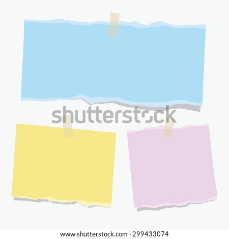 Set of different vector note color papers. - stock vector