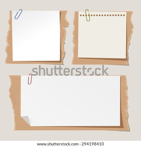 Set of different vector note papers with paper clips on torn cartboard. - stock vector