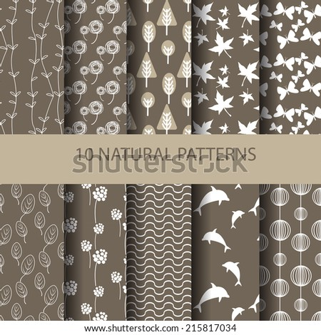 set of different vector patterns natural concept. Endless texture can be used for wallpaper, pattern fills, web page background,surface textures. - stock vector