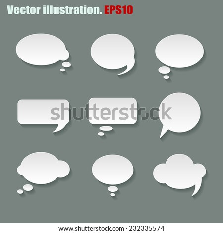 Set of different vector speech bubbles on grey background for your design