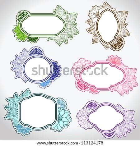 Set of different vintage frames vector illustration. - stock vector