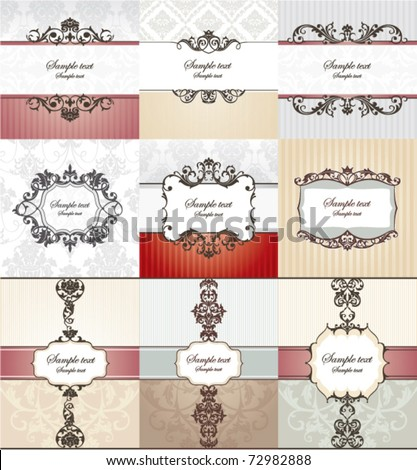set of different vintage frames vector illustration - stock vector