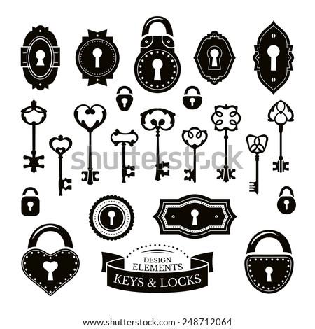 Set of different vintage keys, keyholes and locks, vector illustration - stock vector