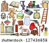 set of different vintage objects - stock vector