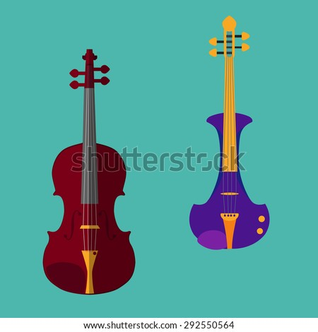 Set of different violins. Classical violin, electric violin. Isolated musical instruments on teal background. Vector illustration in flat style design.  - stock vector