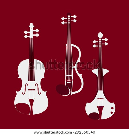 Set of different violins. Classical violin, electric violins. Isolated musical instruments. Vector illustration.