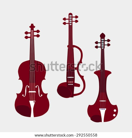 Set of different violins. Classical violin, electric violins. Isolated musical instruments. Vector illustration. - stock vector