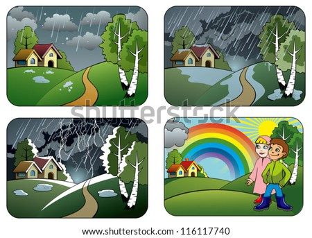 Set of different weather conditions: hail, downpour, thunderstorm and rainbow, vector illustration - stock vector