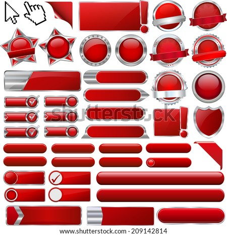 set of different web button buttons icon icons sign signs logo banner graphic graphics design deisgns template templates  / collection of red glossy 3d vector signs / modern click clicking hand cursor - stock vector