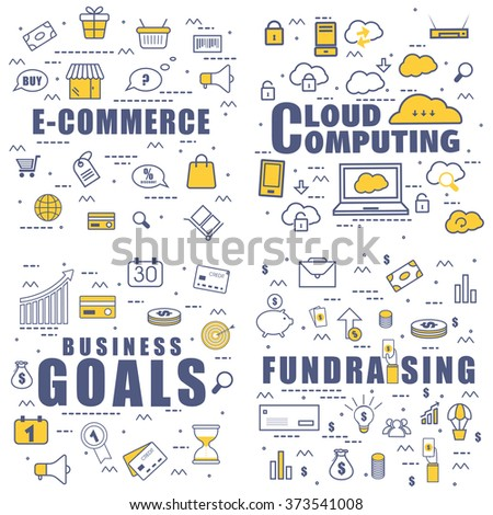 Set of different web elements in doodle design style for E-Commerce, Cloud Computing, Business Goals and Fundrasing.Modern line art illustration for Web Banner, Printed or Promotional Materials. - stock vector