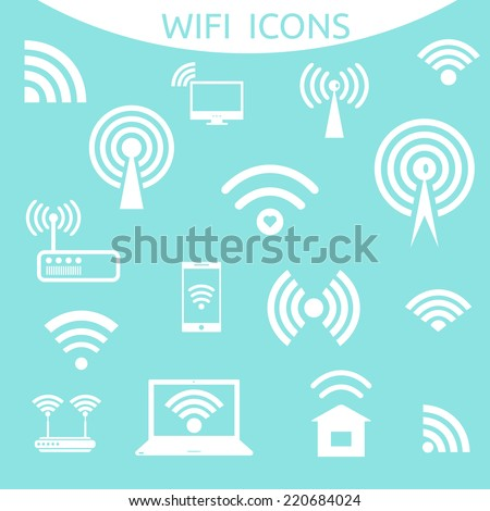 Set of different white vector wireless and wifi icons for remote access and communication via radio waves. Flat style. Wireless and wifi icons. Vector illustration. - stock vector