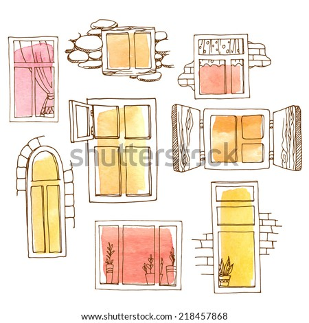 Set of different windows painted in watercolor. Hand-drawn design elements. Vector illustration of different types of windows. Brown contour painted red, yellow and orange watercolor spots. - stock vector