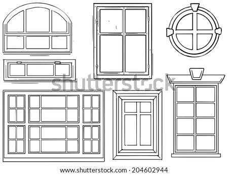 Set of different windows, vector illustration - stock vector