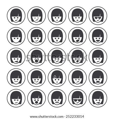 Set of different woman emoticons vector. Emoji icons representing lots of reactions, personalities and emotions - stock vector