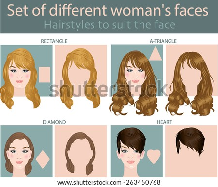Set of different woman's faces - stock vector